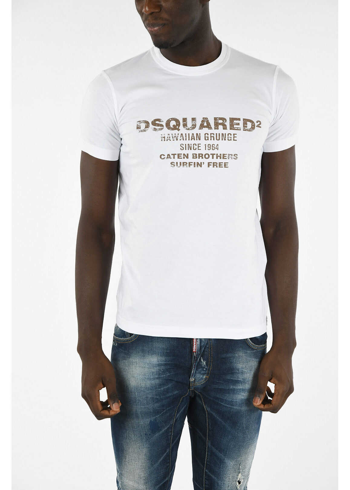 DSQUARED2 T-shirt SEXY SLIM FIT with Print* WHITE