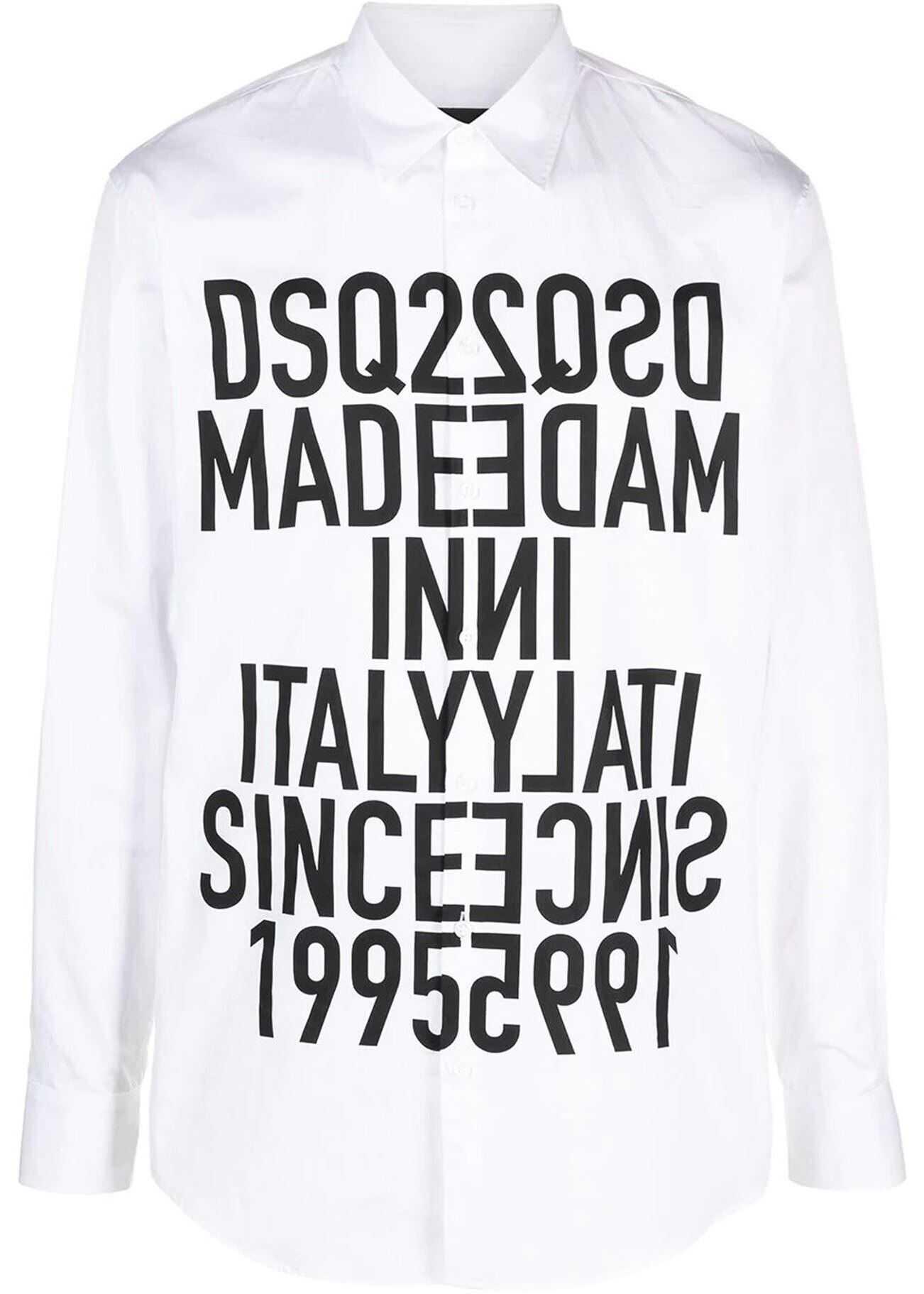 DSQUARED2 Dan Printed Cotton Shirt In White White imagine