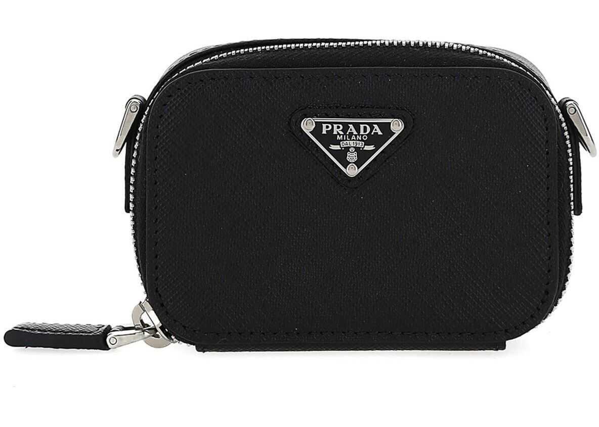 Prada Small Beauty Case With Shoulder Strap In Black 2TT1052AHFF0002 Black imagine b-mall.ro