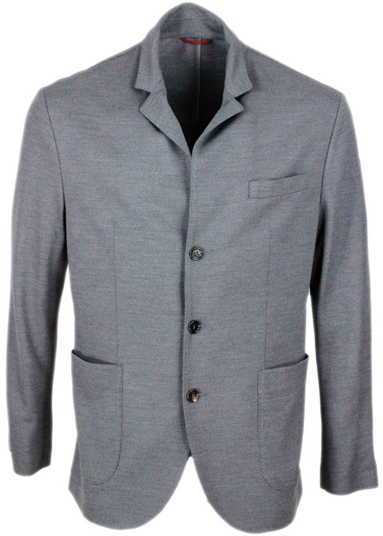 Brunello Cucinelli Three-Buttons Jacket In Grey Grey imagine