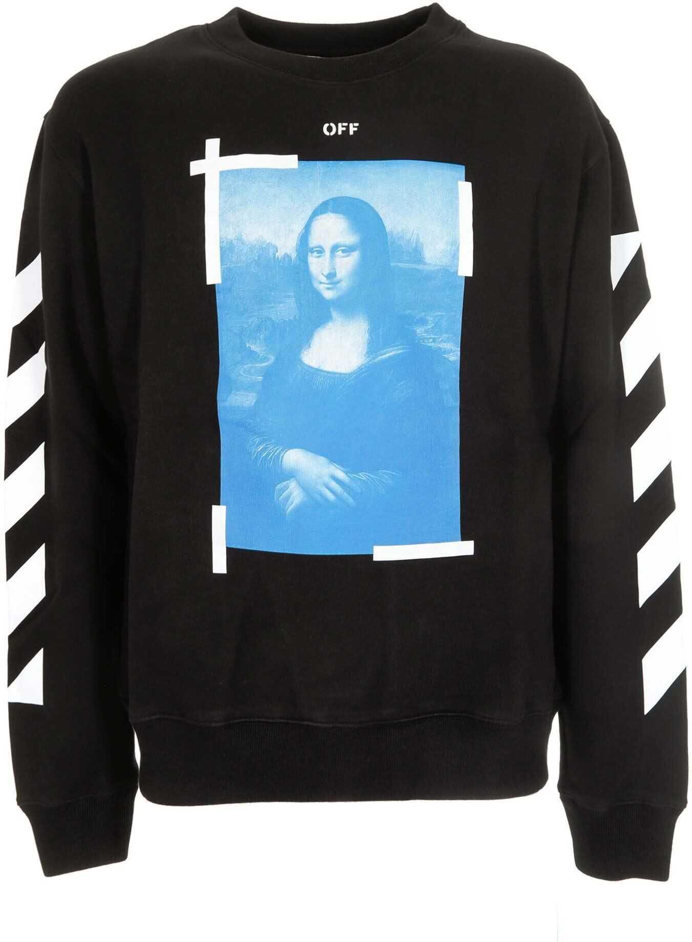 Off-White Blue Monnalisa Sweatshirt In Black Black imagine