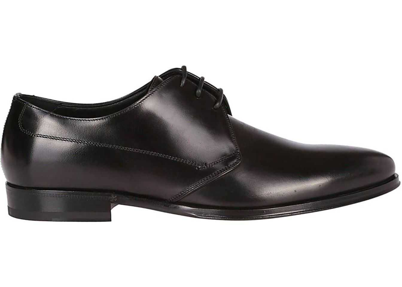 Dolce & Gabbana Smooth Leather Black Derby Shoes In Black A10391AZ63180999 Black imagine b-mall.ro