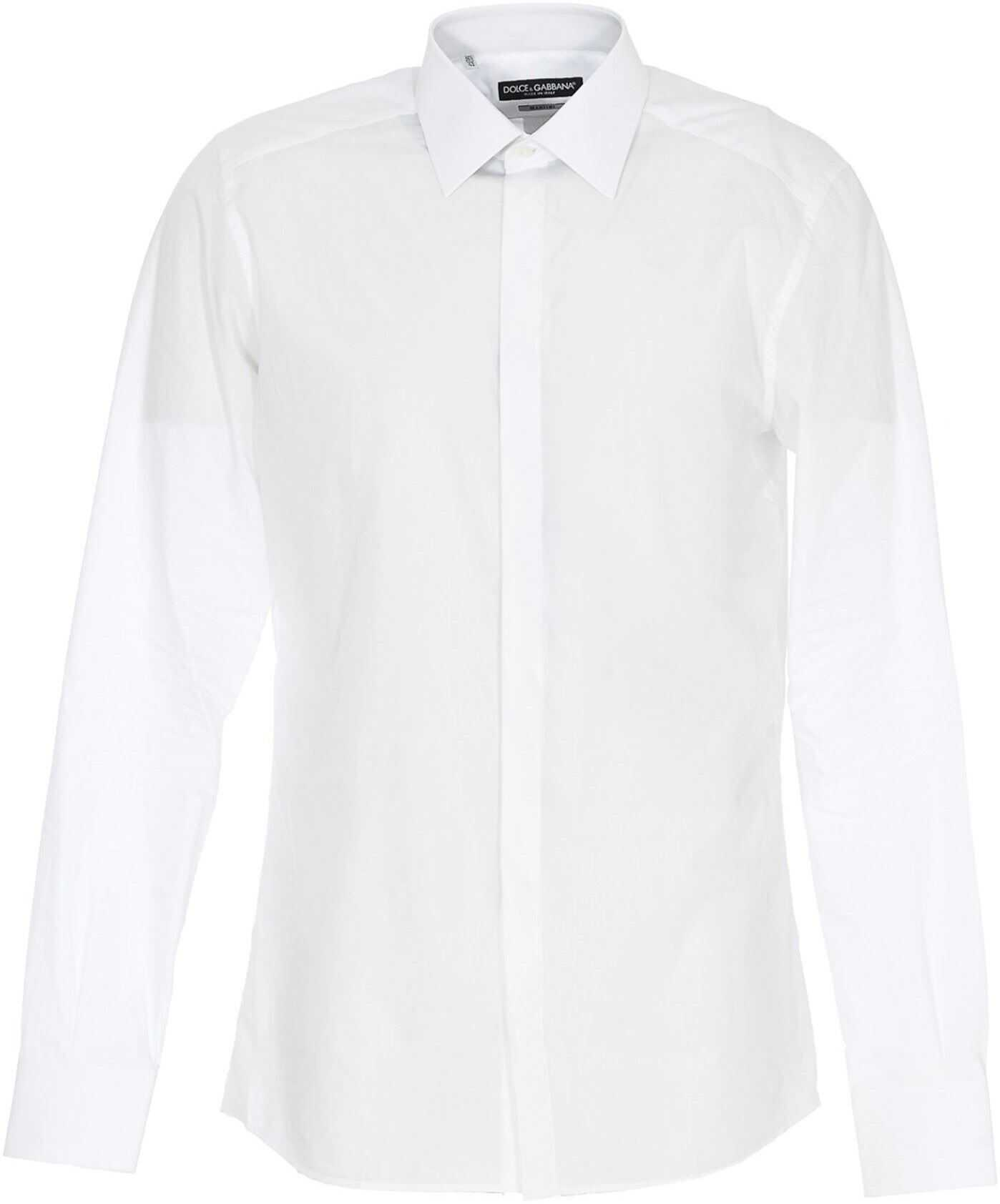Dolce & Gabbana Cotton Poplin Shirt In White White imagine