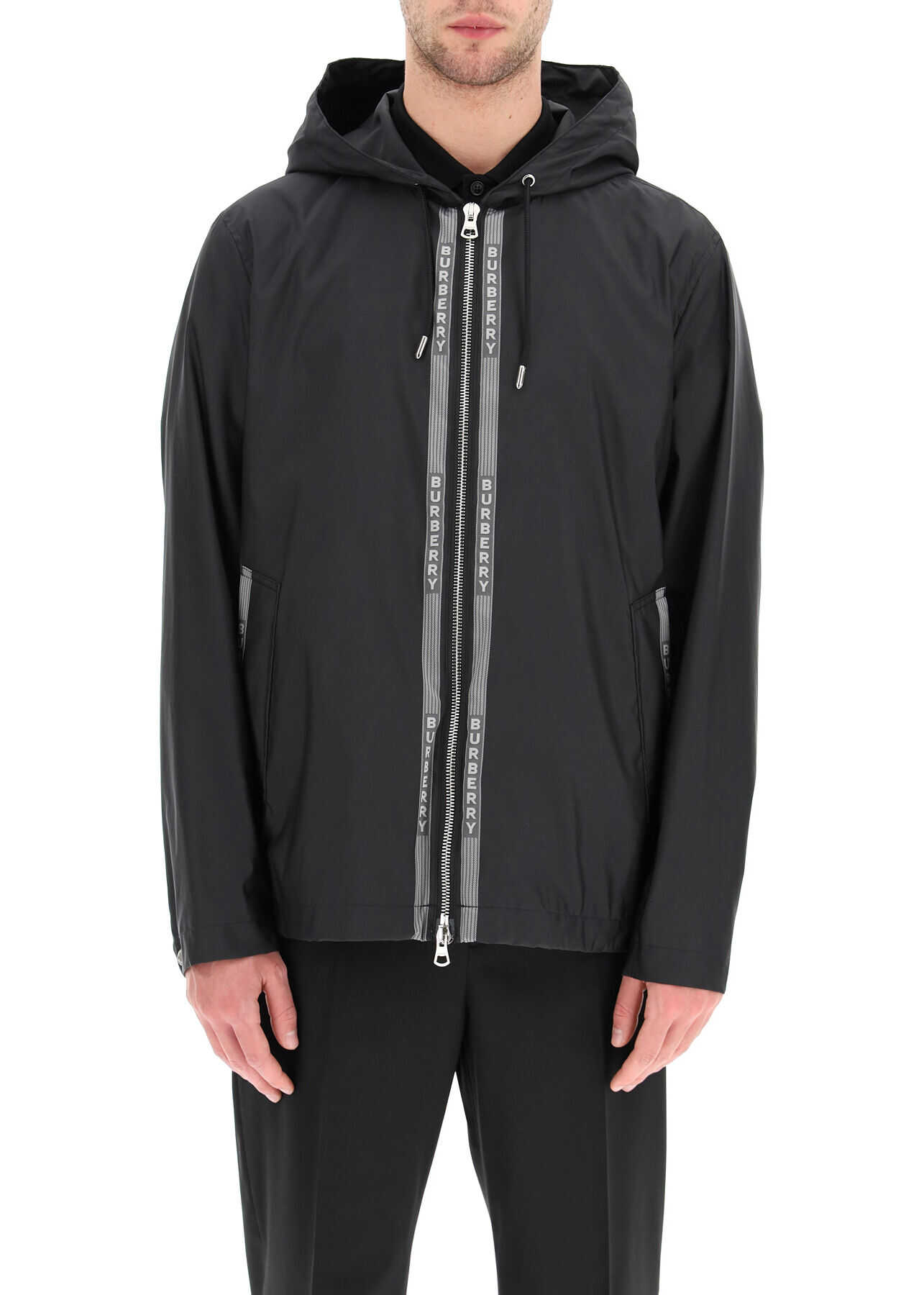 Burberry Stretton Nylon Jacket With Logo BLACK imagine
