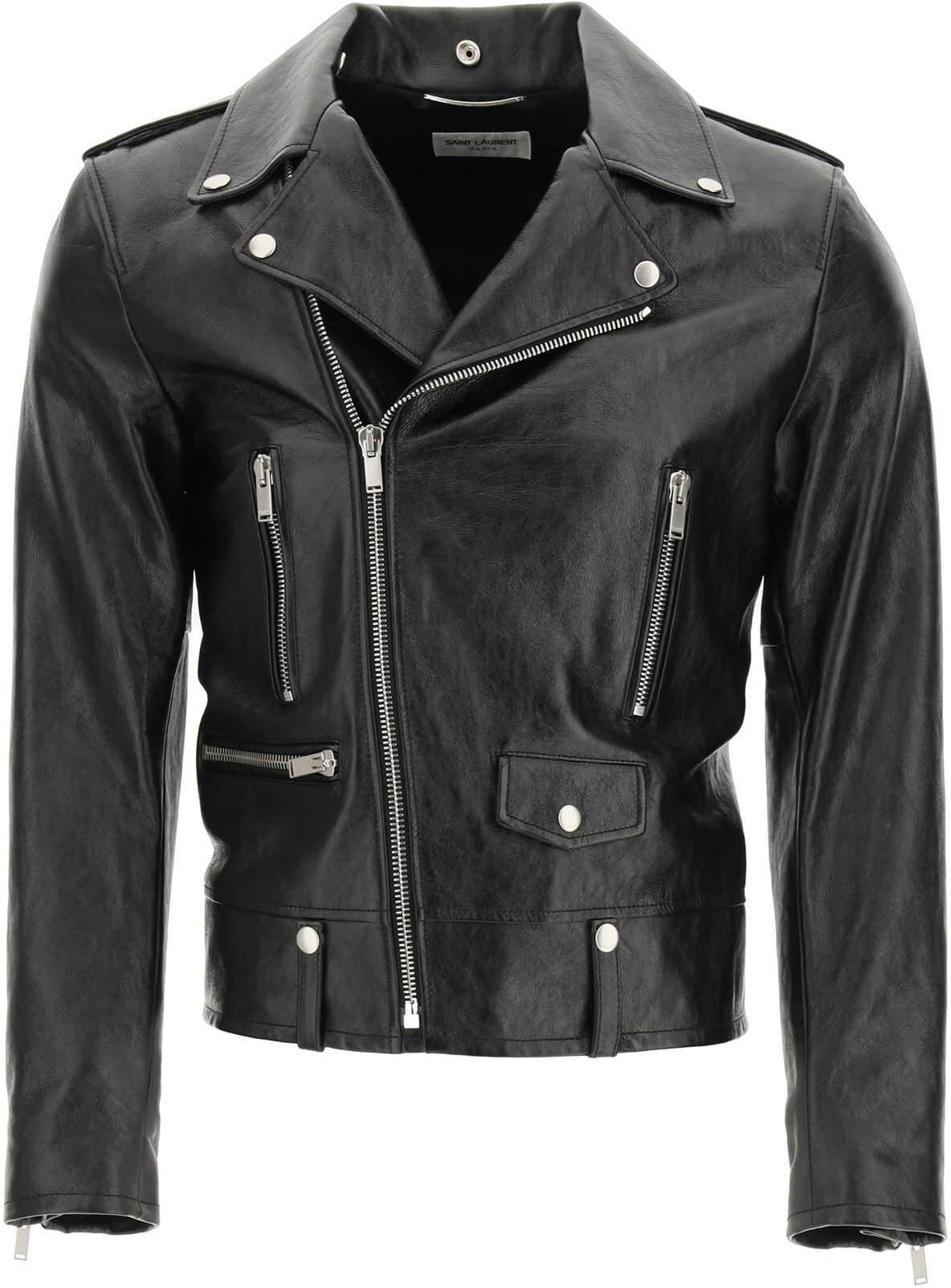 Saint Laurent Leather Biker Jacket BLACK imagine