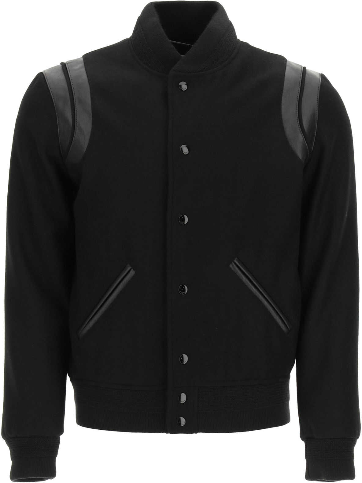 Saint Laurent Teddy Bomber In Wool And Leather BLACK imagine