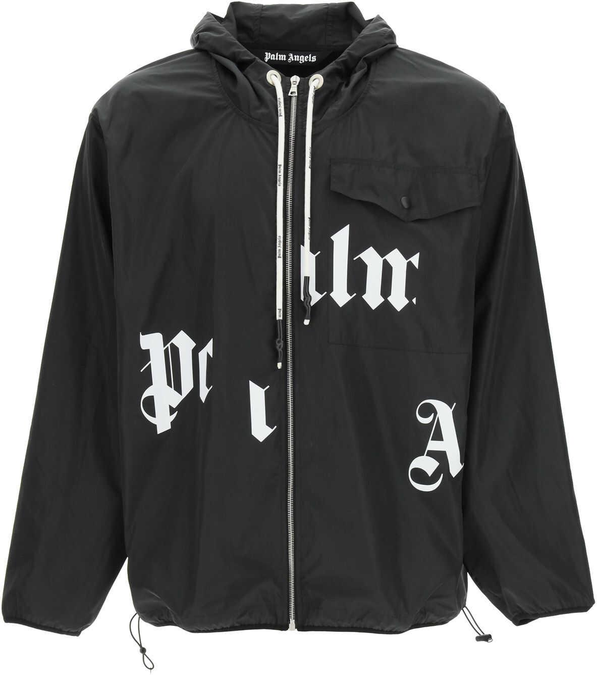 Palm Angels Windbreaker Jacket With Logo BLACK WHITE imagine