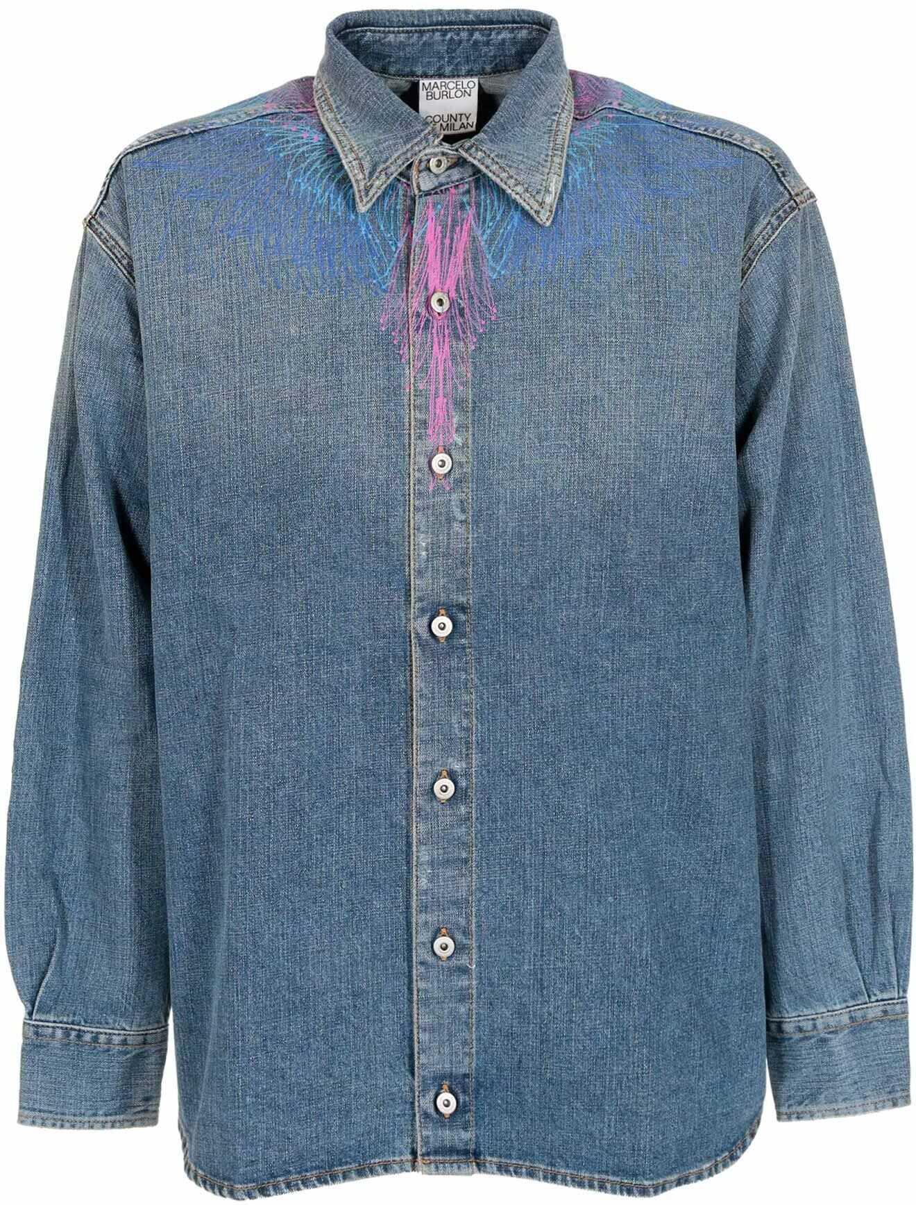 Marcelo Burlon Bezier Wings Light Stone Shirt In Light Blue Light Blue imagine