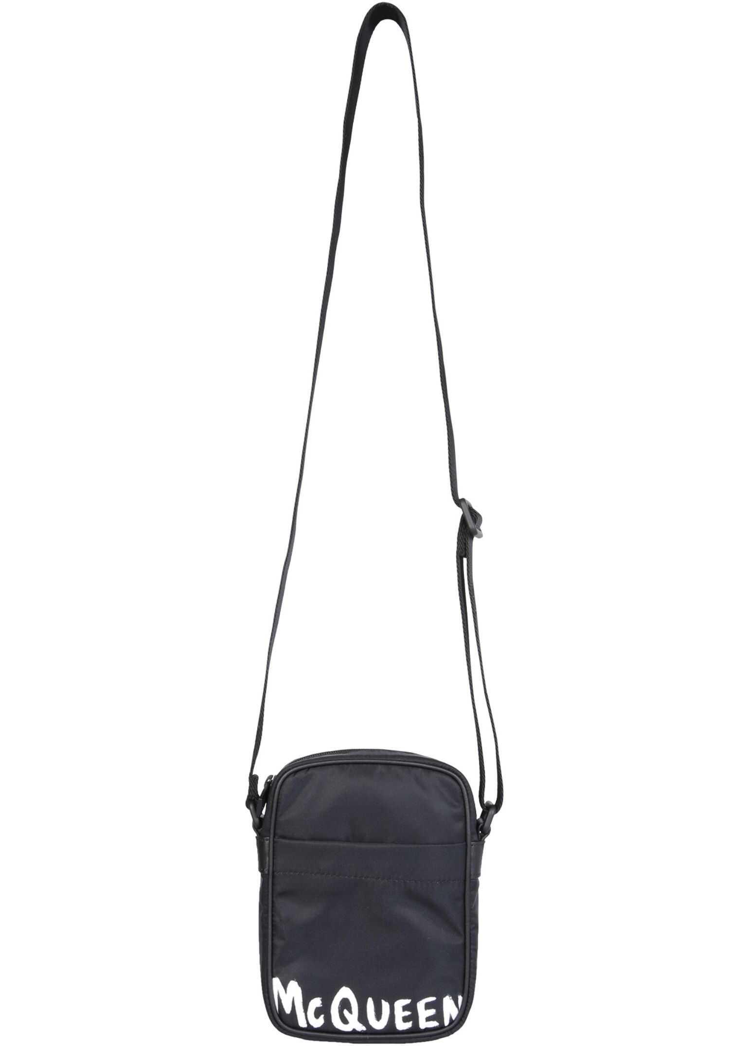 Alexander McQueen Shoulder Bag With Logo 610679_HWC2B1070 BLACK imagine b-mall.ro