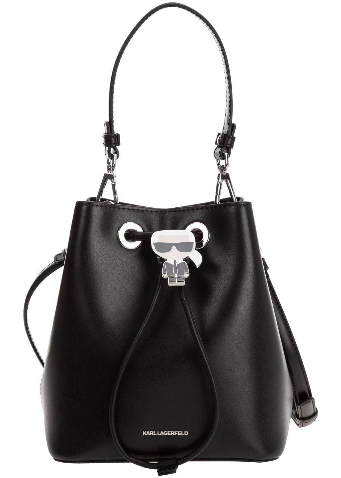 Karl Lagerfeld Leather Shoulder Bag K/Ikonik 205W3056.21 Black imagine b-mall.ro