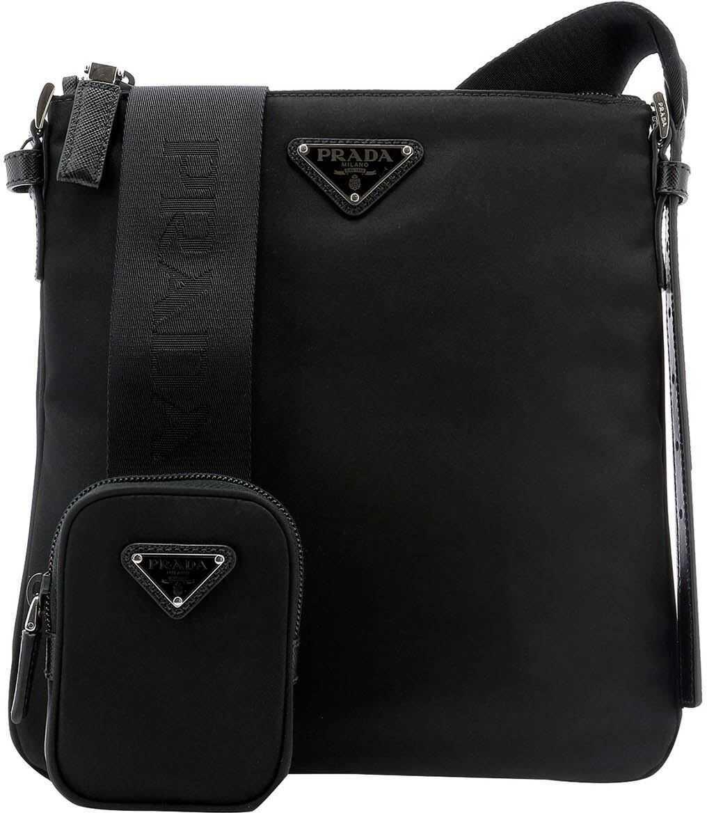 Prada Nylon Crossbody Bag In Black 2VH124064F0002 Black imagine b-mall.ro