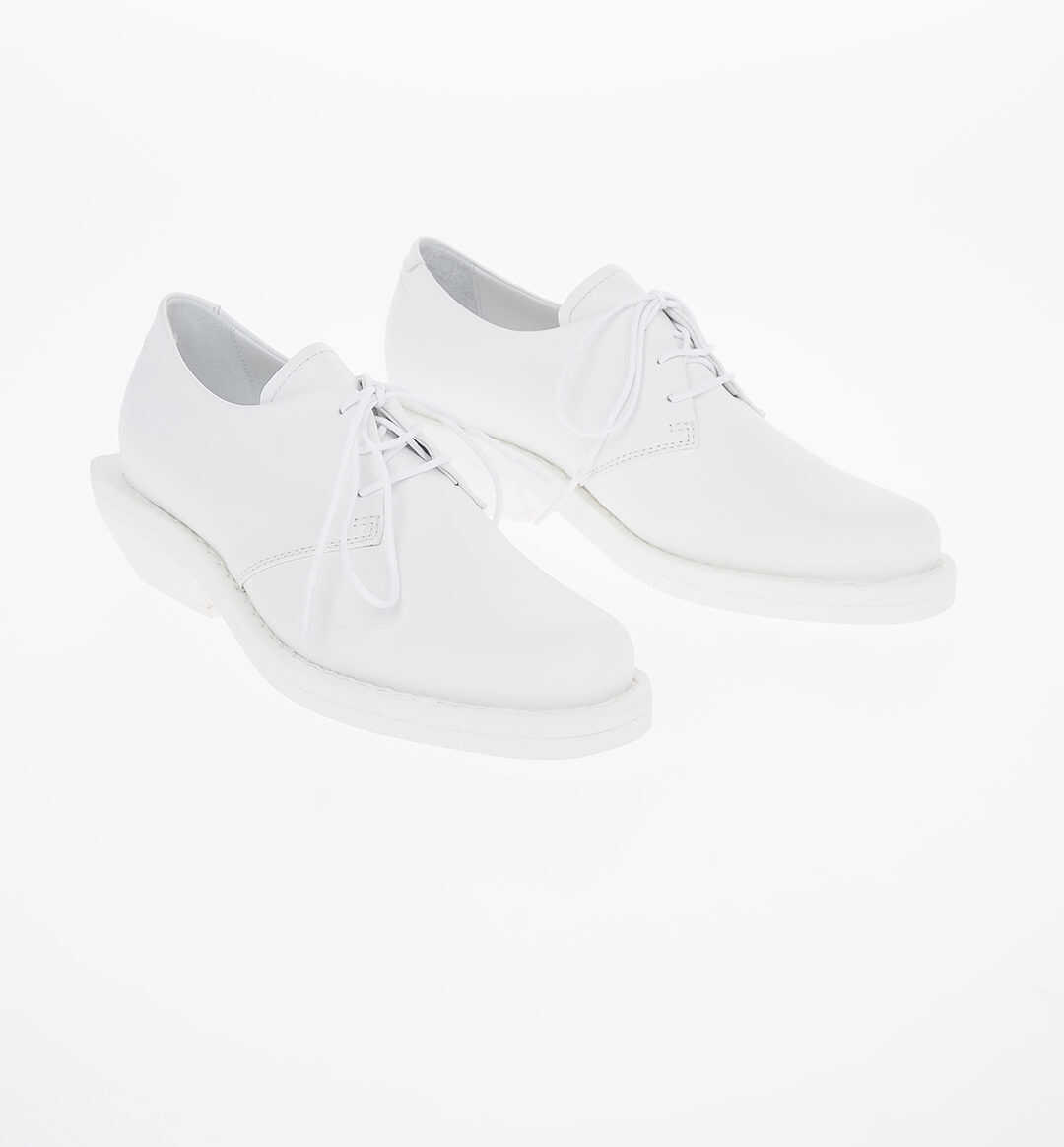Maison Margiela MM6 6cm Leather Oxford Shoes with Heel WHITE imagine b-mall.ro