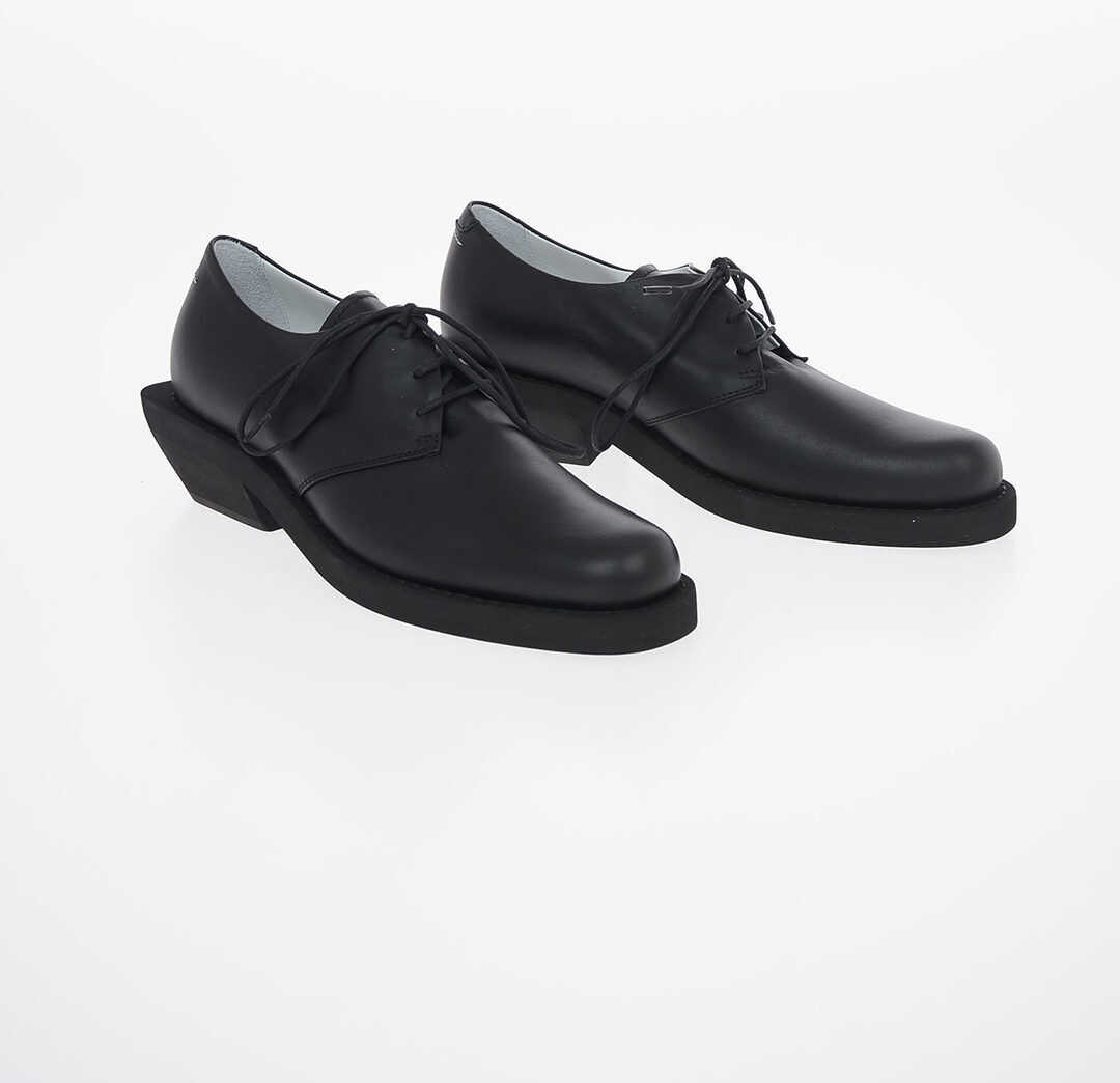 Maison Margiela MM6 5cm Leather Oxford Shoes with Heel BLACK imagine b-mall.ro