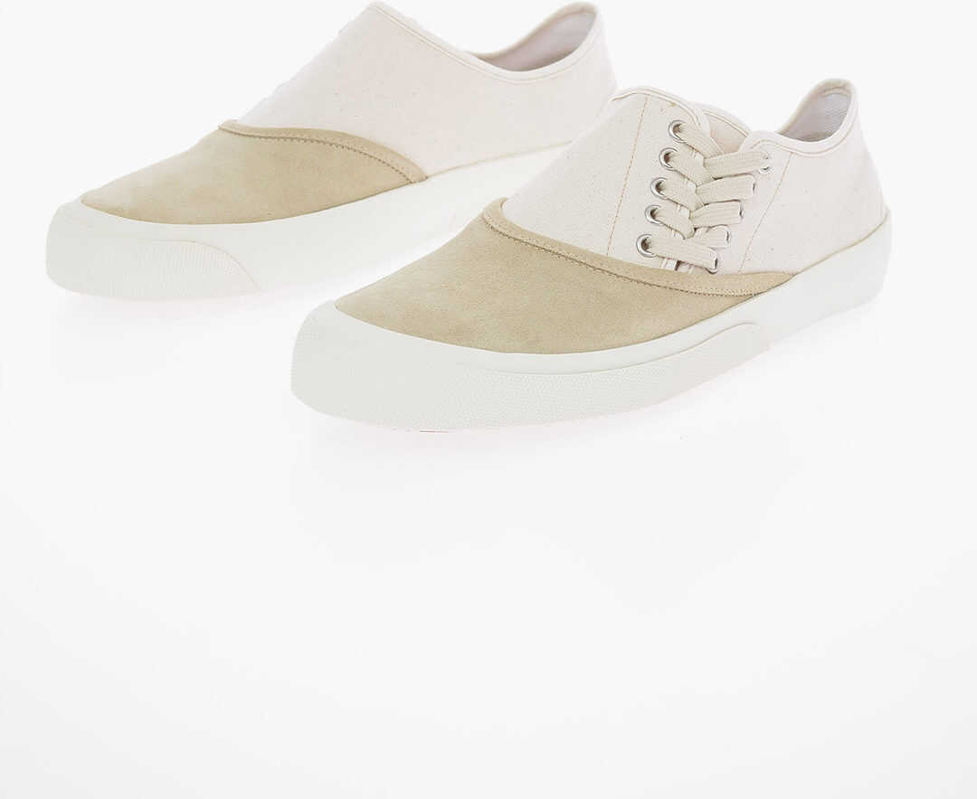 Maison Margiela MM22 Two Tone Sneakers With Suede Leather Detail BEIGE imagine b-mall.ro