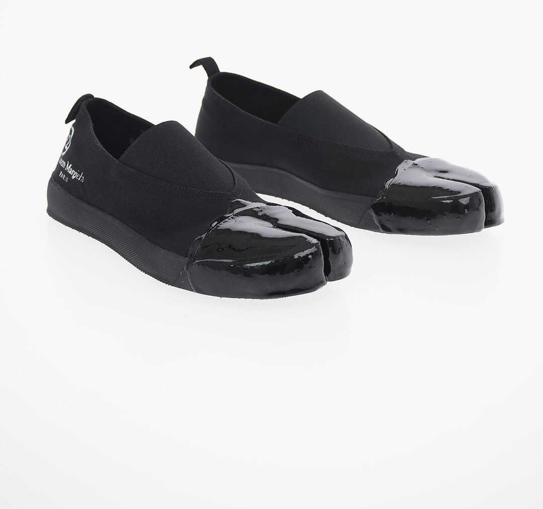 Maison Margiela MM22 Canvas TABI Slip on Sneakers BLACK imagine b-mall.ro