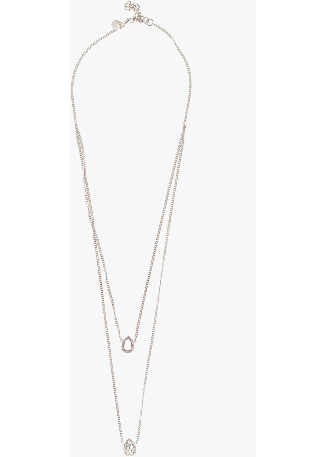 Maison Margiela MM6 DOUBLE CHAIN NECKLACE WITH FACETED CRYSTALS SILVER