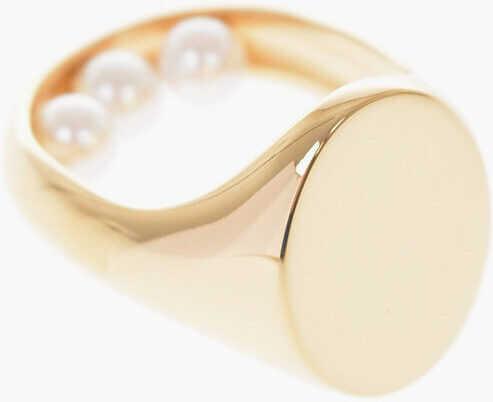 Maison Margiela MM11 Brass signet ring with embellishment GOLD