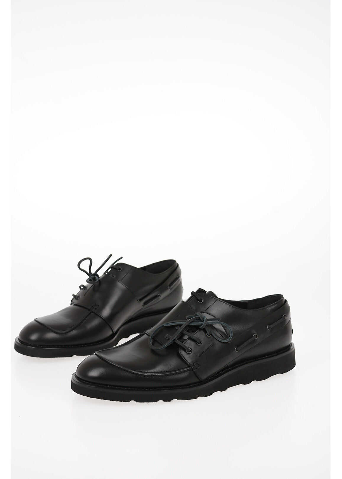 Maison Margiela MM22 Leather Double Laces Derby Shoes BLACK imagine b-mall.ro