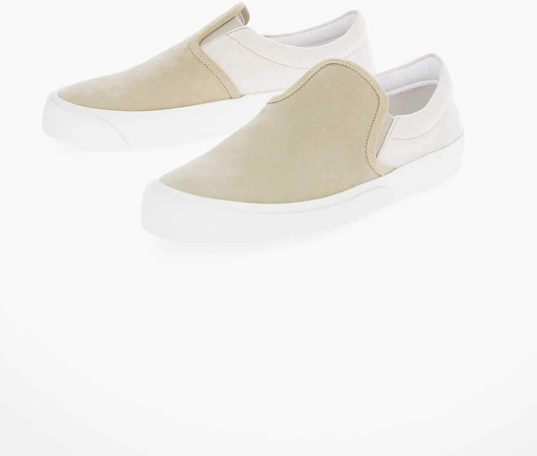 Maison Margiela MM22 Suede Leather Two-Tone Slip On Sneakers BEIGE imagine b-mall.ro