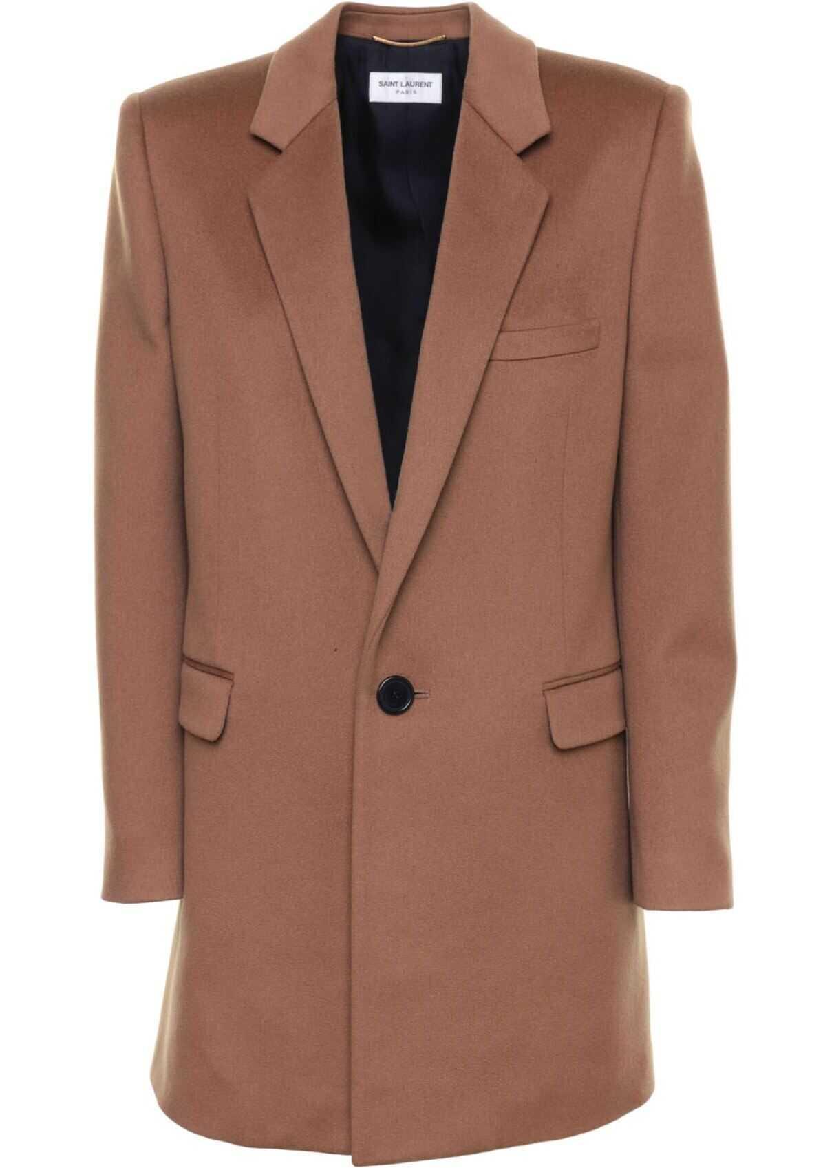 Wool Coat In Brown