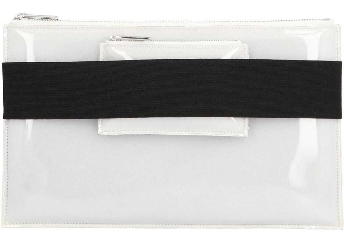 MM6 Maison Margiela Double Logo Clutch Bag In White S41WF0114P2709H8481 White imagine b-mall.ro