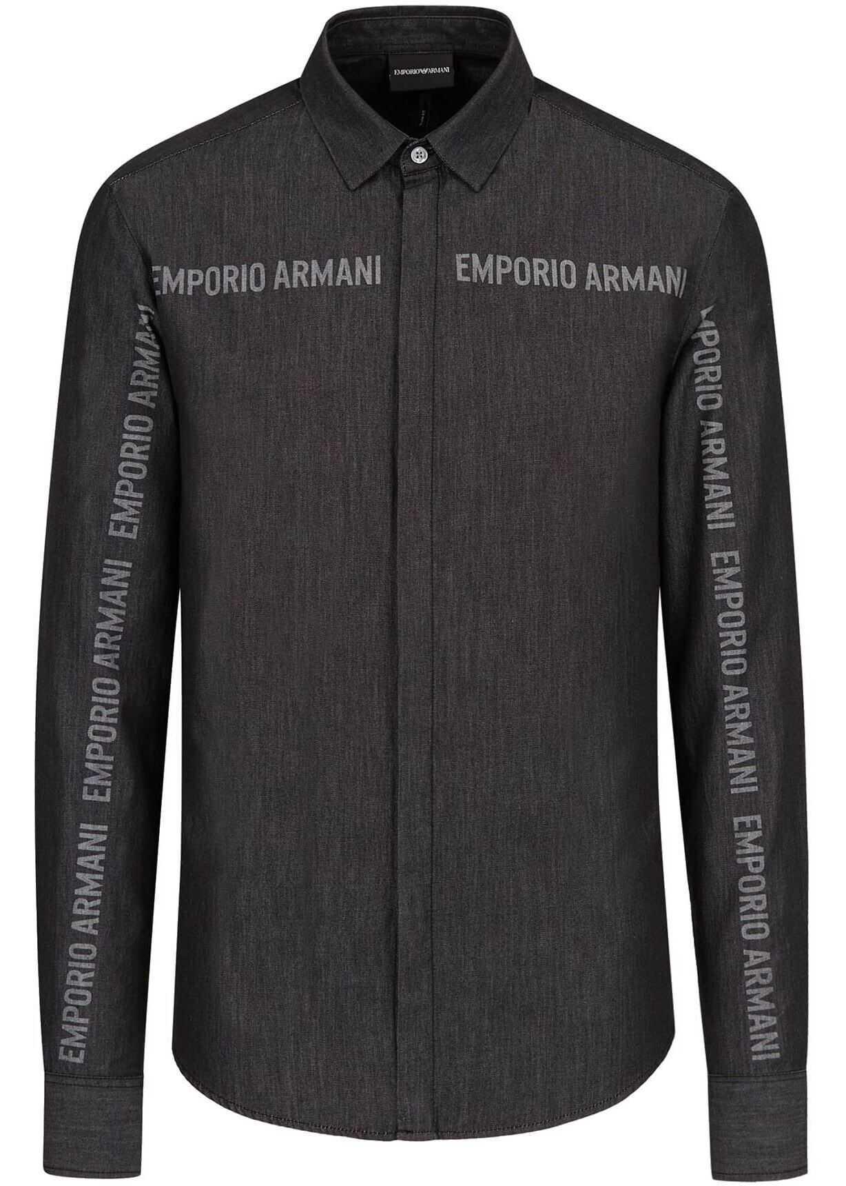 Emporio Armani Branded Shirt In Dark Grey Grey imagine