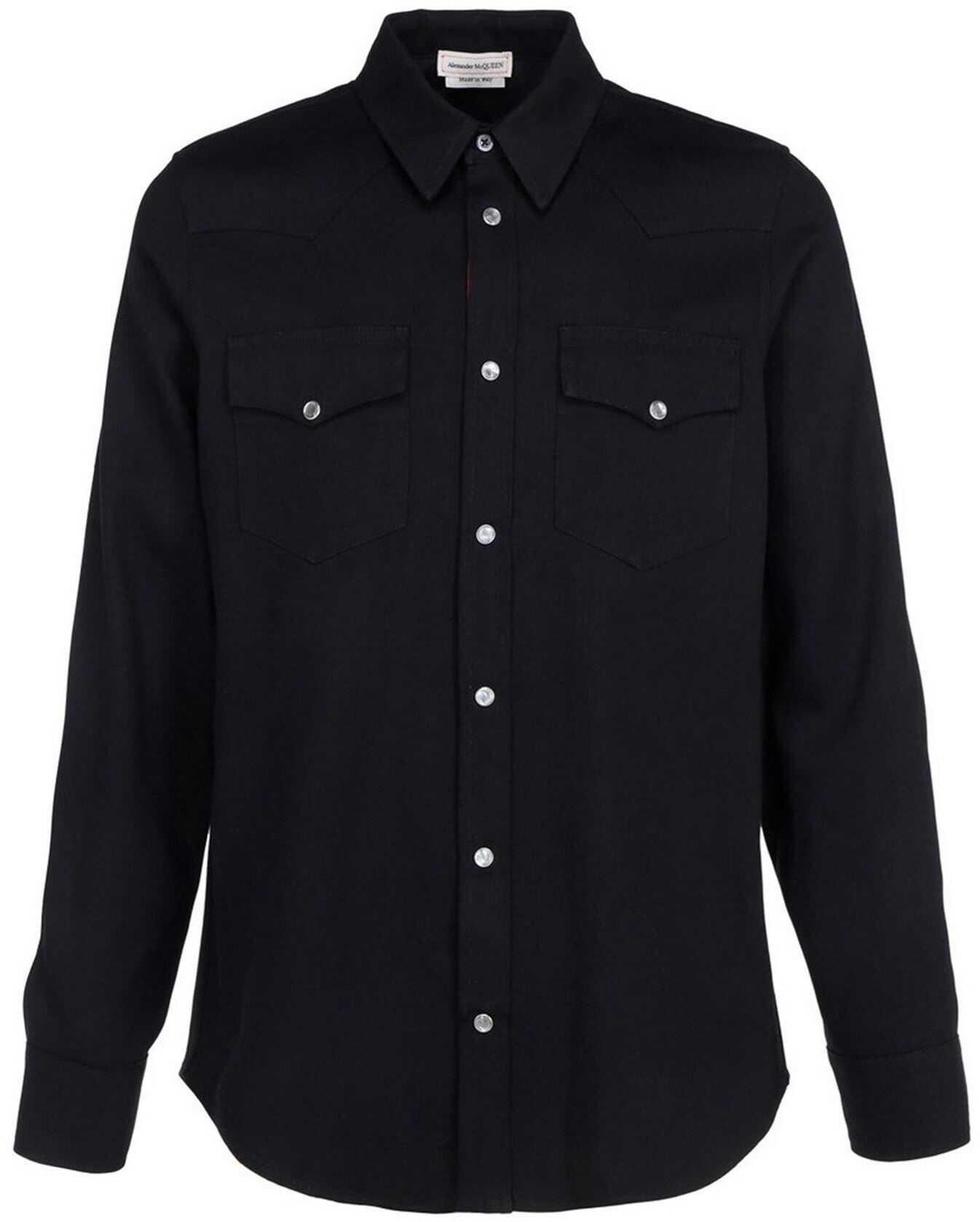 Alexander McQueen Breast Pocket Shirt In Black Black imagine