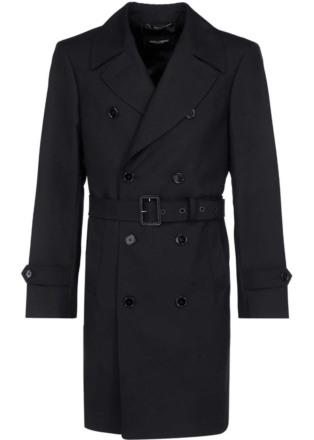 Dolce & Gabbana Wool Blend Trench Coat In Black Black imagine