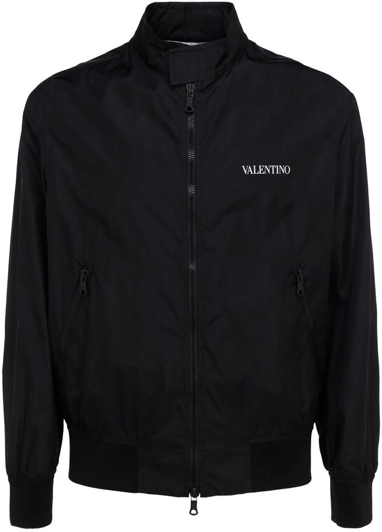 Valentino Garavani Tech Fabric Bomber Jacket In Black Black imagine