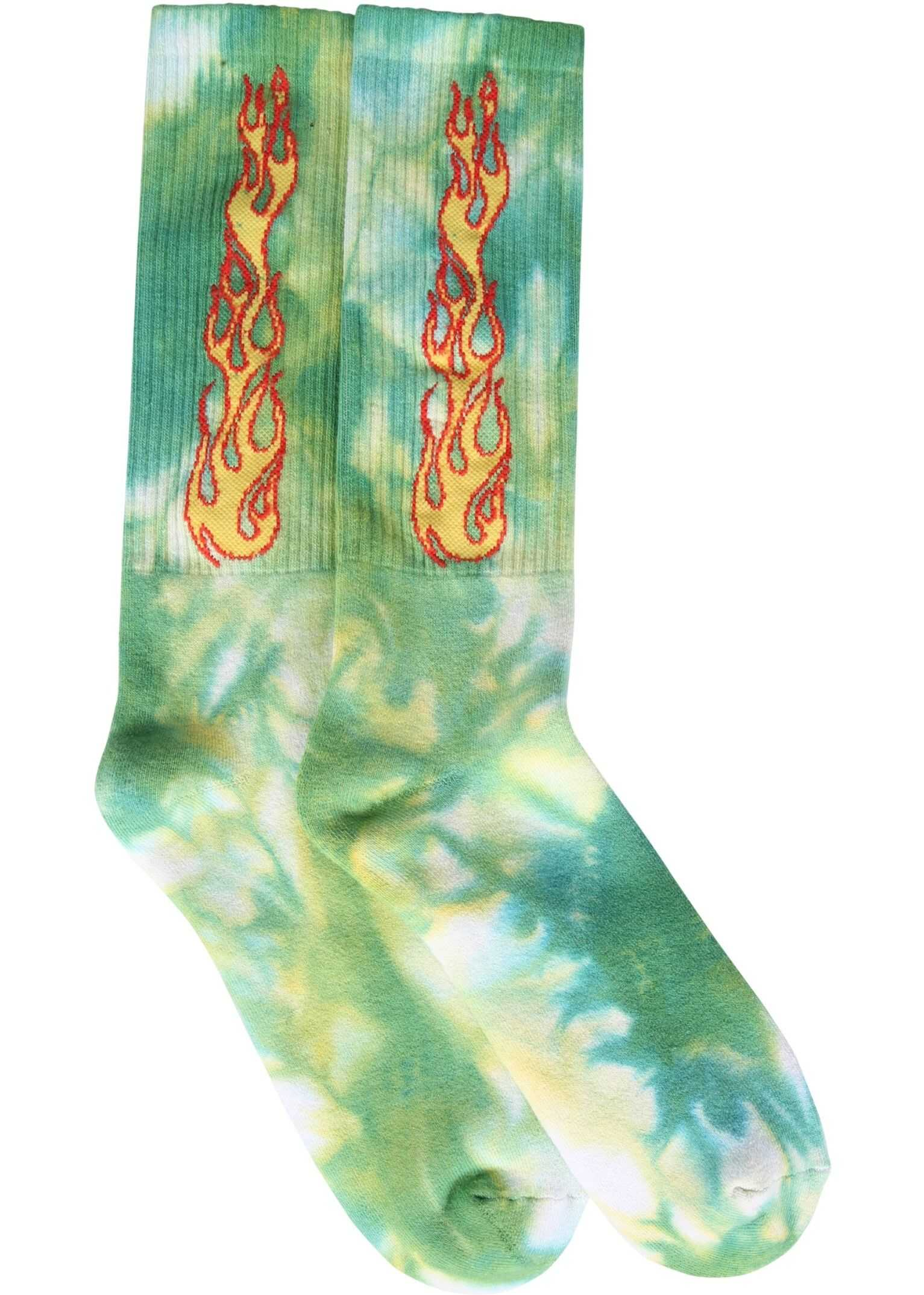 Palm Angels Socks With Flames Logo GREEN imagine