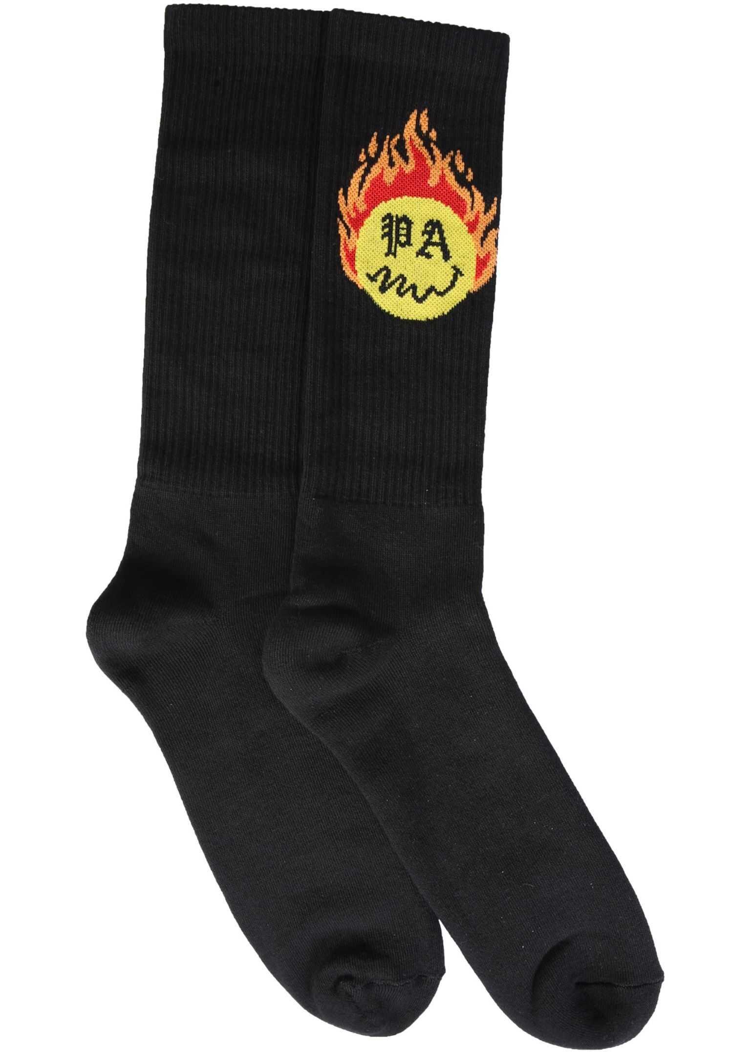 Palm Angels Socks With Burning Head Print BLACK imagine