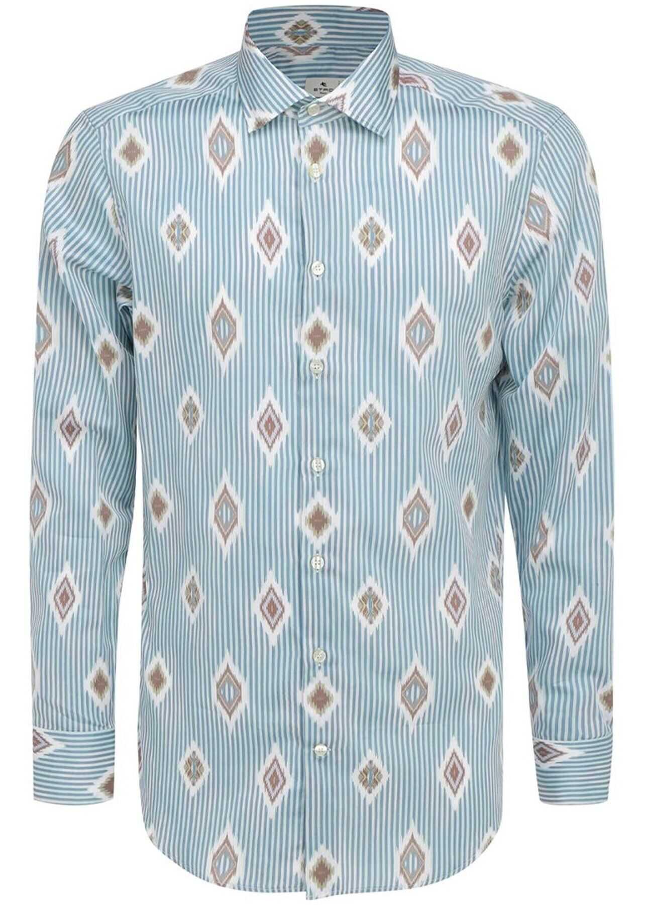 ETRO Lozenge Pattern Striped Multicolor Shirt Multi imagine