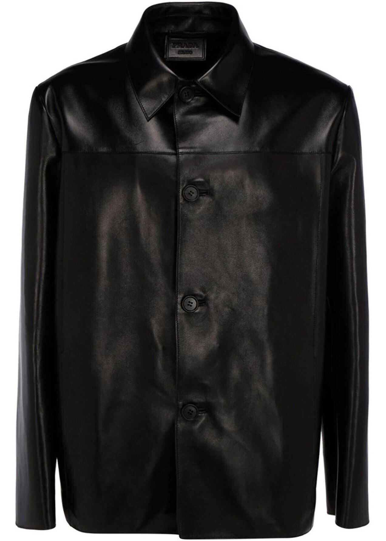 Prada Napa Shirt Jacket In Black Black imagine