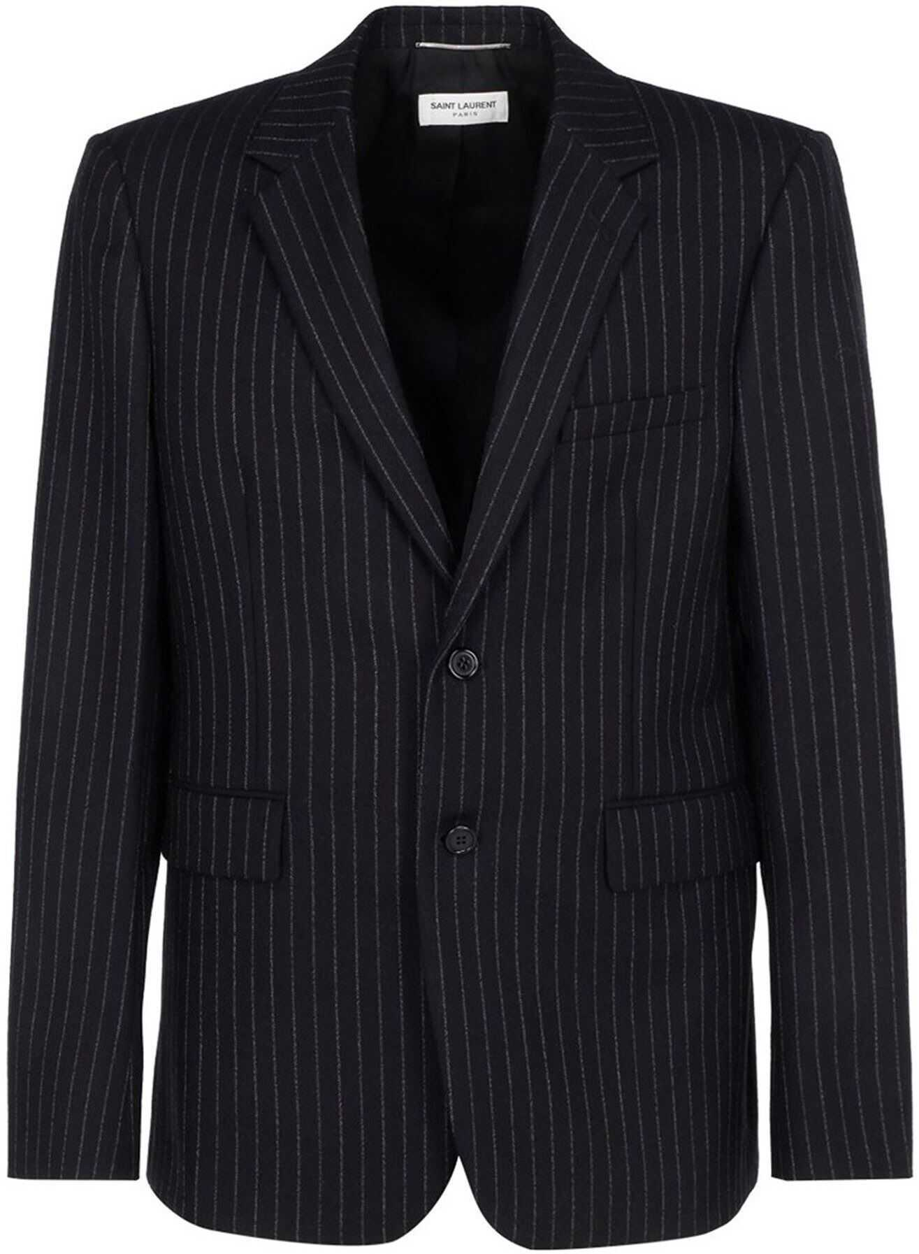 Saint Laurent Pinstriped Wool Blazer In Black Black imagine