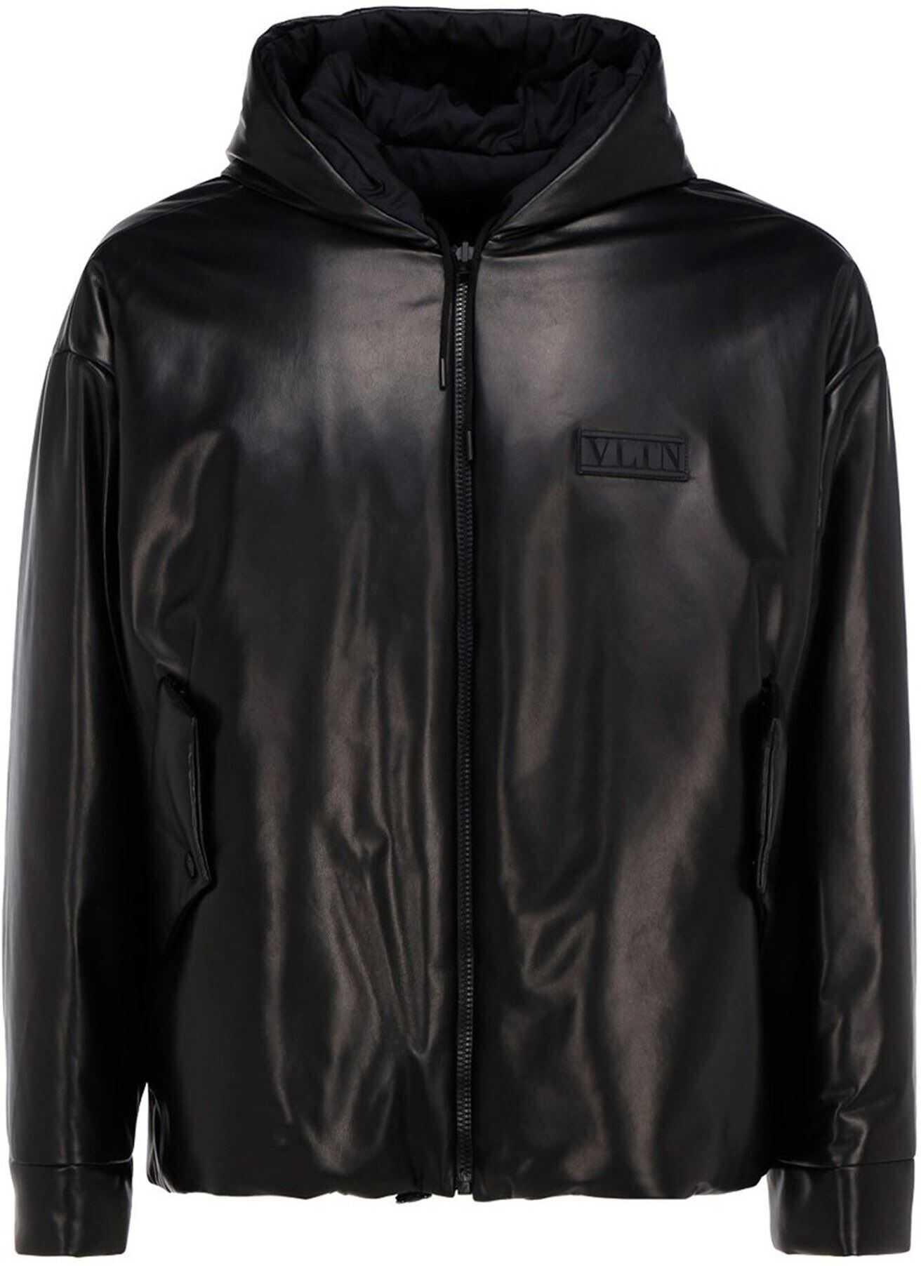 Valentino Garavani Vltn Leather Padded Jacket In Black Black imagine