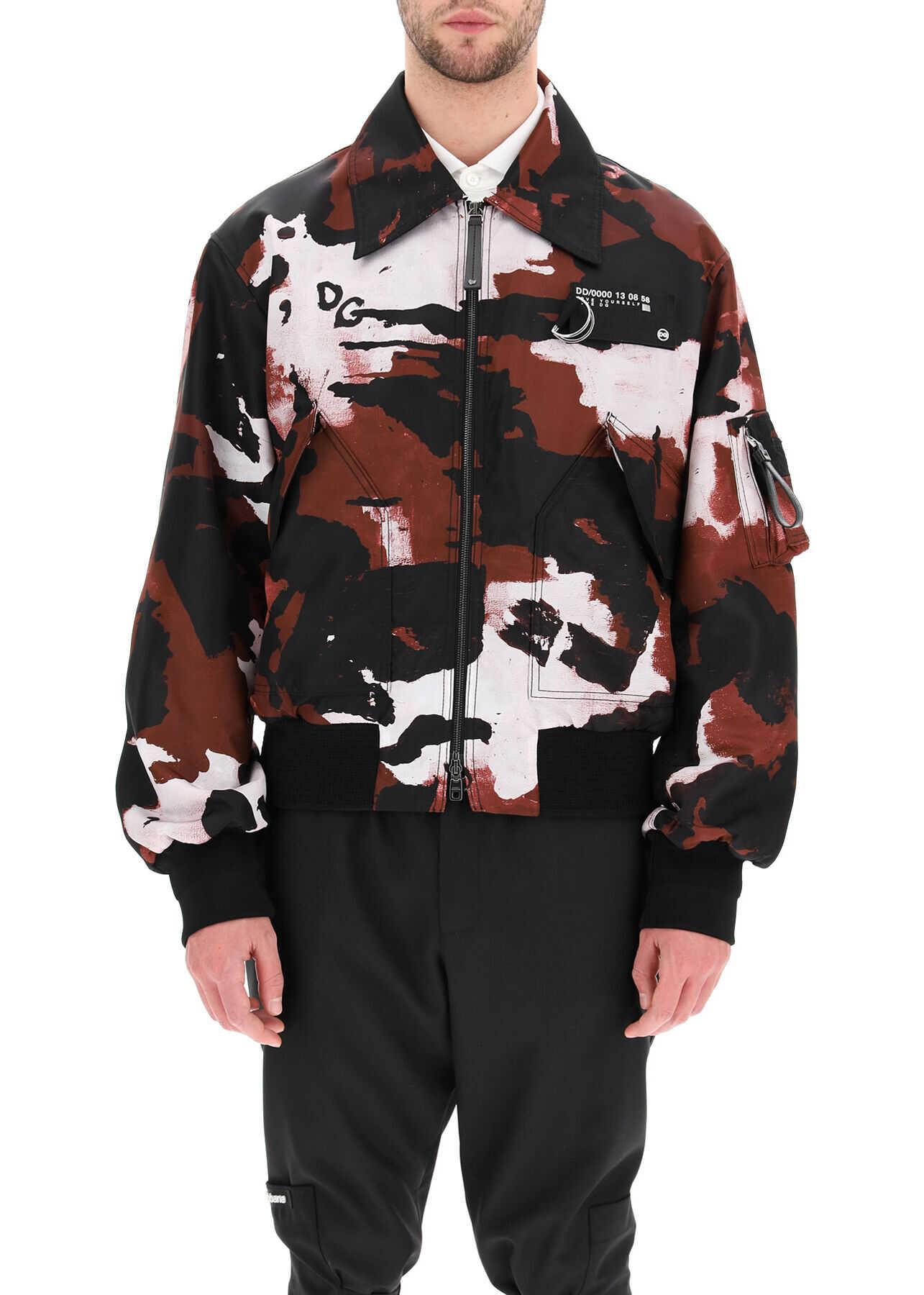 Dolce & Gabbana Camouflage Nylon Bomber Jacket CAMOUFLAGE F BORDEAU imagine