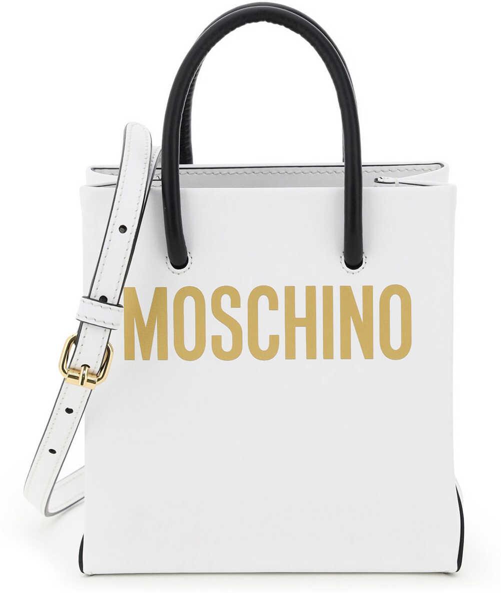 Moschino Mini Shopper With Logo 7416 8001 FANTASIA BIANCO 1 imagine b-mall.ro