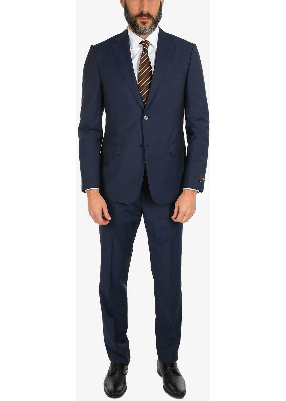 ZZEGNA Jetted Pocket Pin Check 2 Button Suit