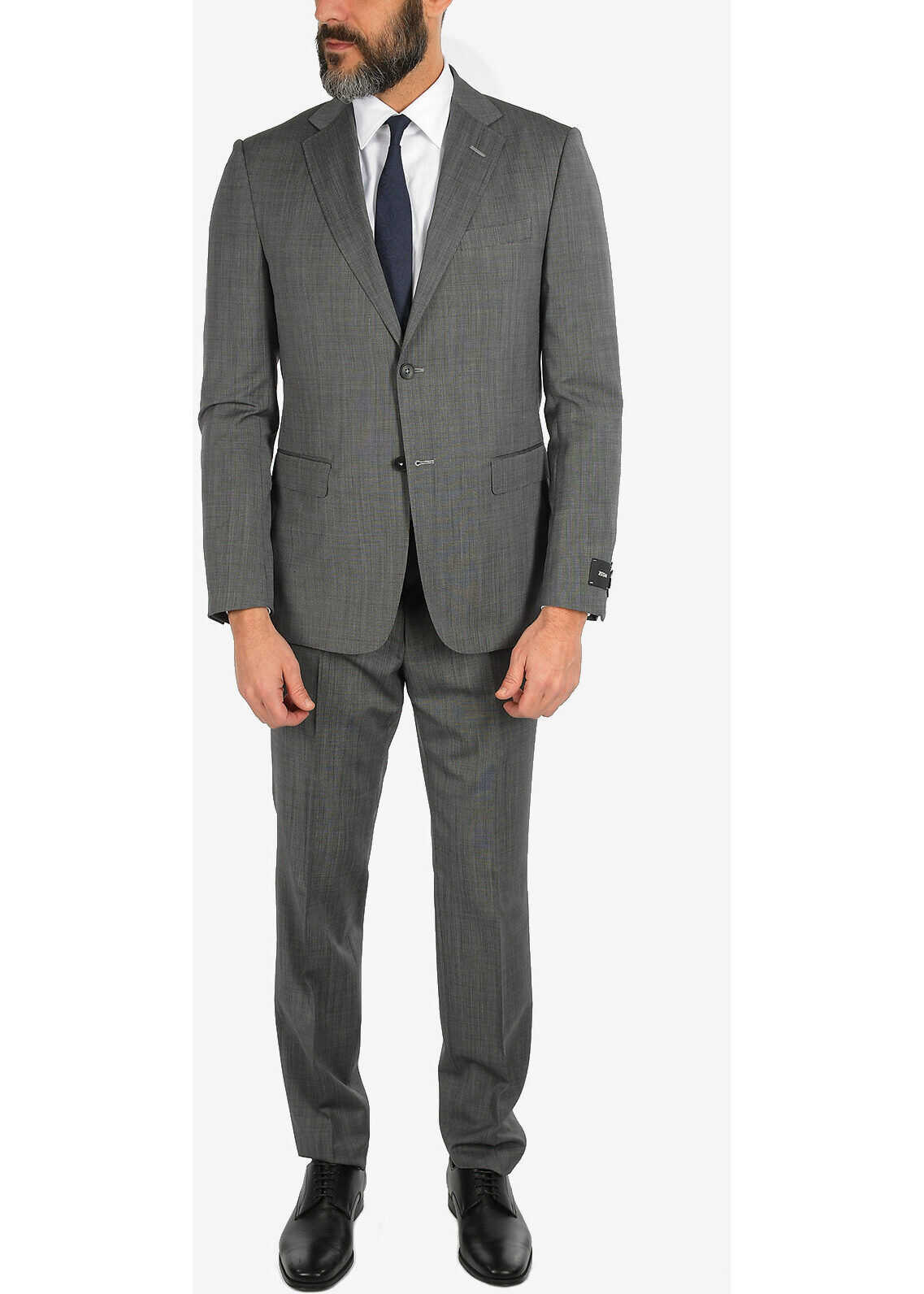 Ermenegildo Zegna ZZEGNA Pin Point 2 Button Suit with Jetted Pocket GRAY imagine