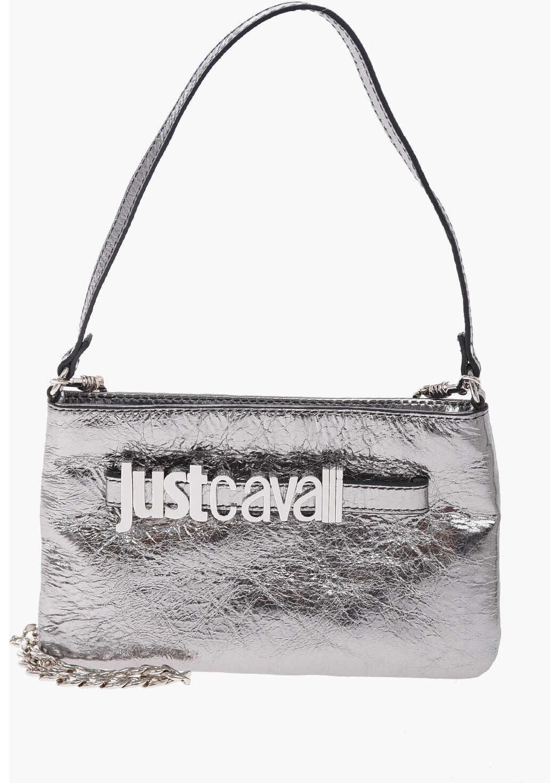 Just Cavalli Metallic Leather Shoulder Bag SILVER imagine b-mall.ro