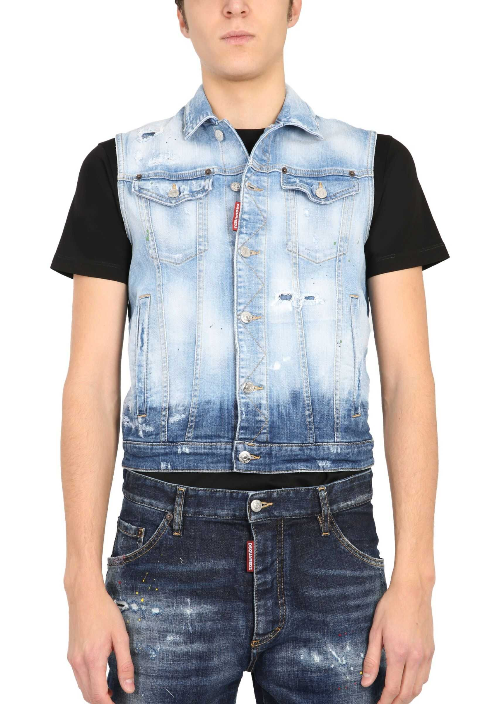 DSQUARED2 Vest Without Sleeves BLUE imagine