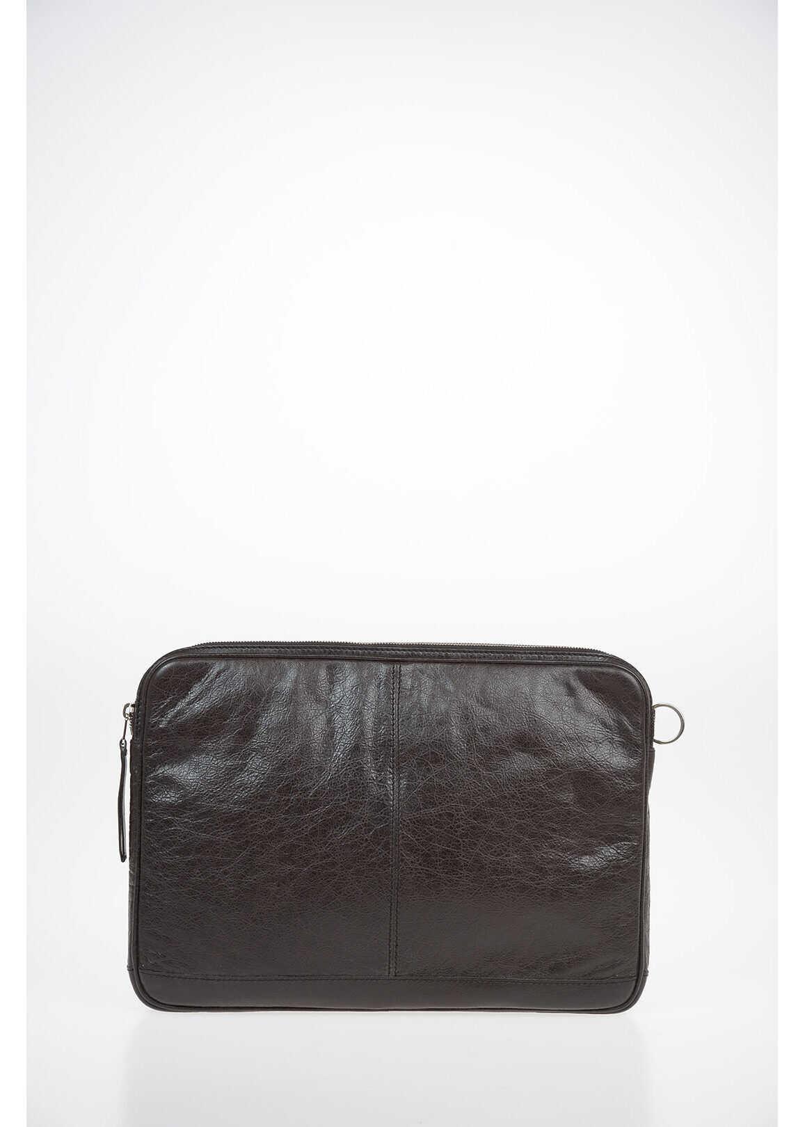 Balenciaga tumbled leather Laptop Bag BROWN imagine b-mall.ro