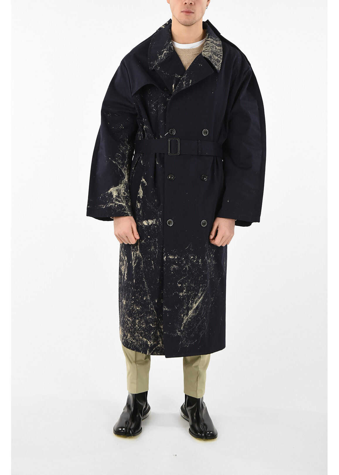 Maison Margiela MM14 Printed Double Breasted Trench BLUE imagine