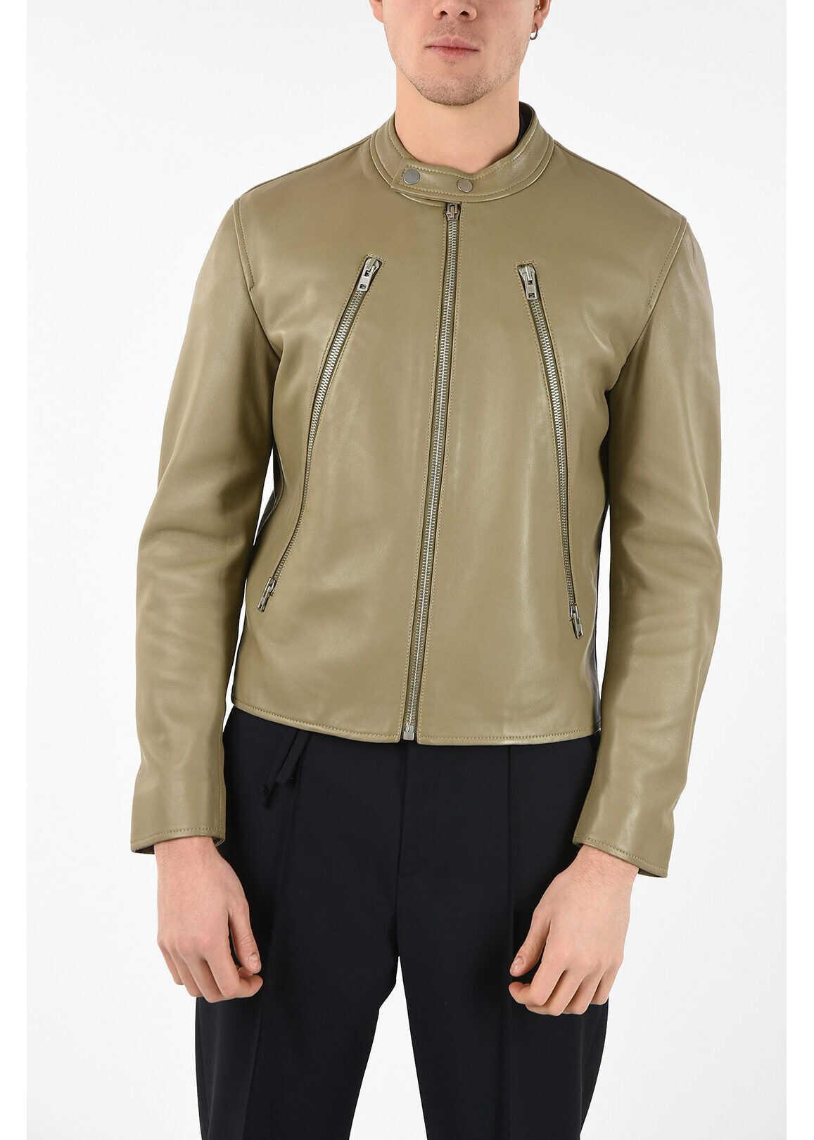 Maison Margiela MM14 Leather Jacket BEIGE imagine