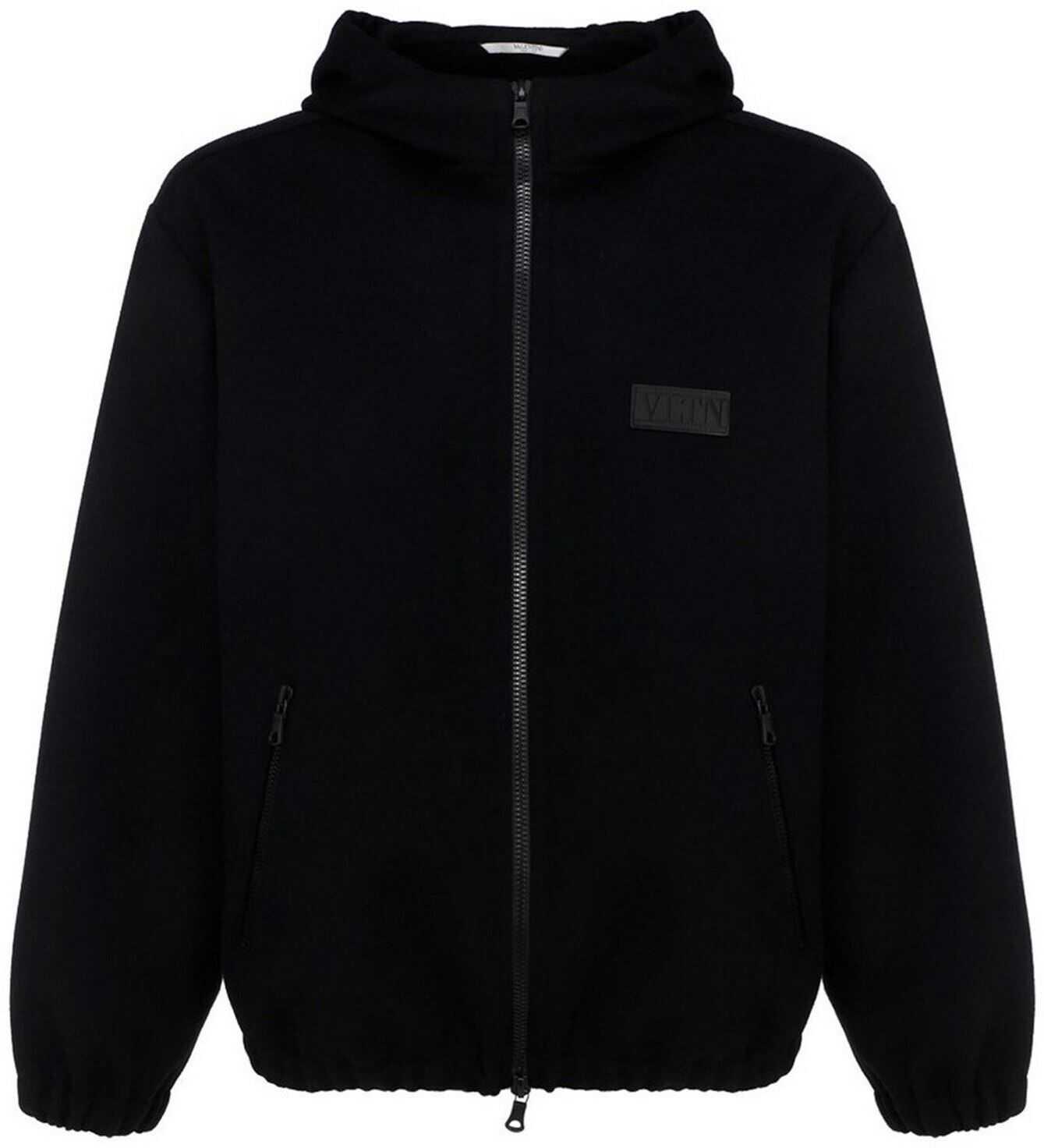 Valentino Garavani Cashmere-Wool Blend Jacket In Black Black imagine
