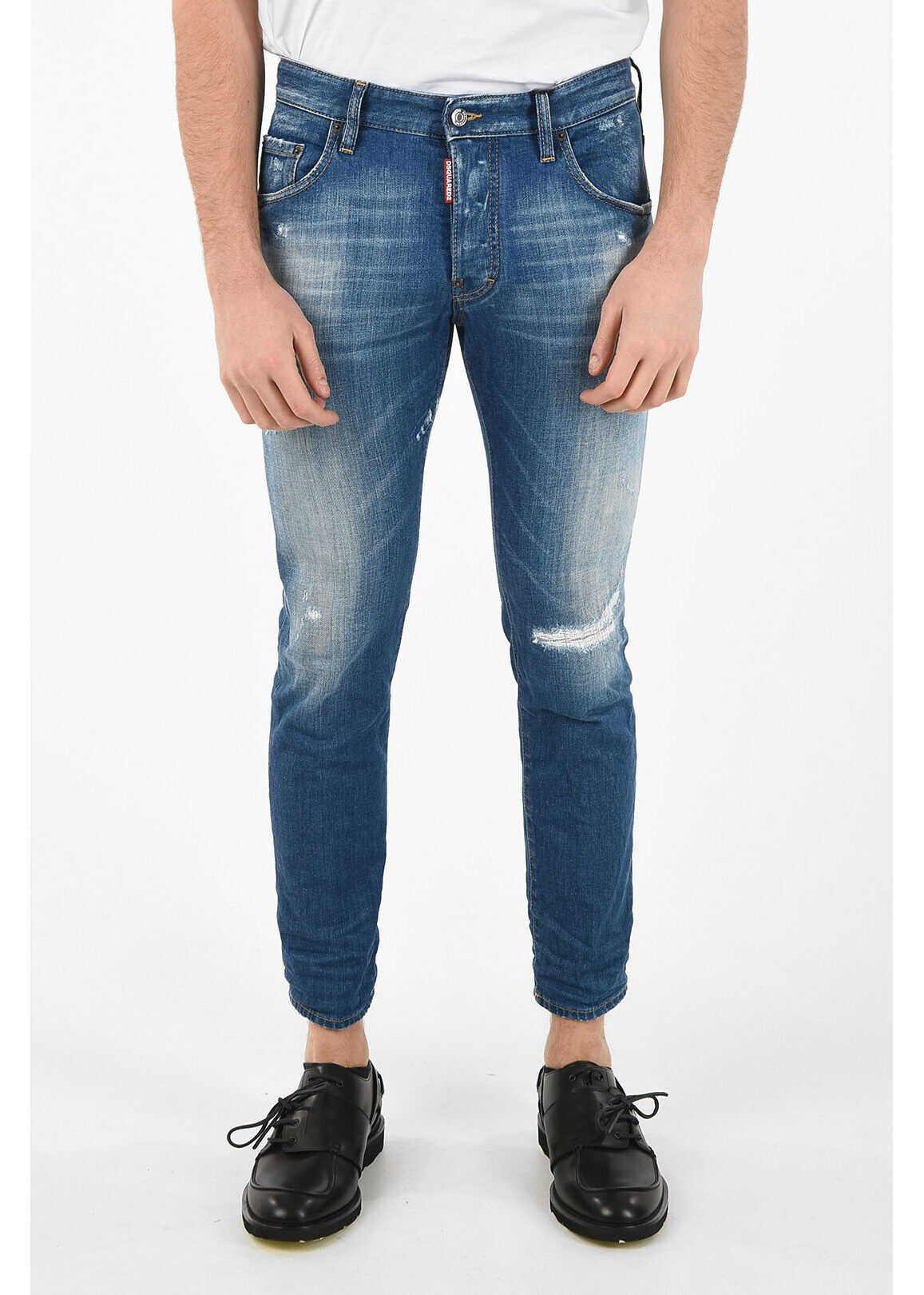 DSQUARED2 16cm Stretch Denim Capri SKATER Jeans BLUE imagine