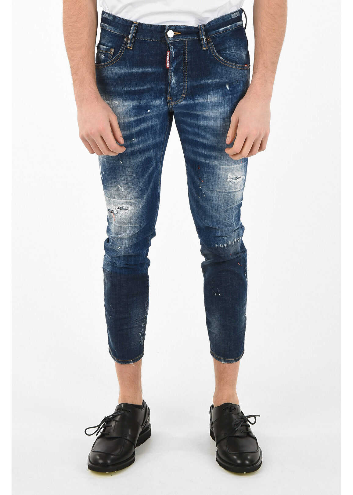 DSQUARED2 15cm Distressed Printed SKATER Jeans BLUE imagine