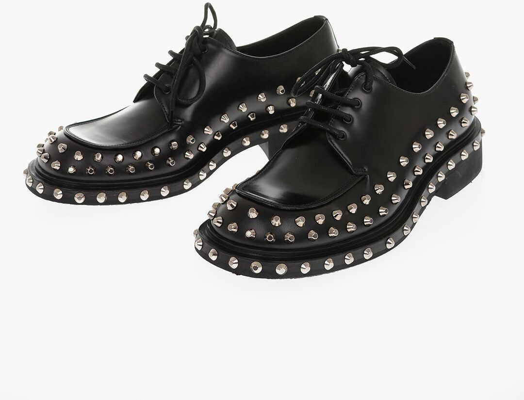 Prada Leather Derby Shoes with Studs BLACK imagine b-mall.ro