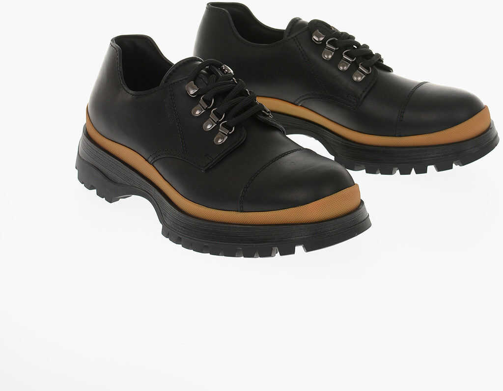 Prada Track Sole Leather Derby Shoes BLACK imagine b-mall.ro