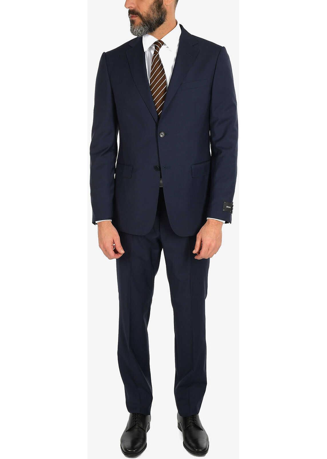 Ermenegildo Zegna ZZEGNA Tattersal Check 2 Button Suit BLUE imagine